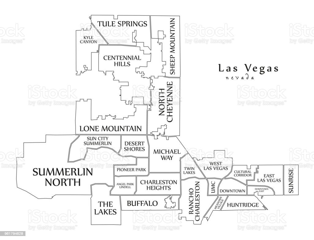 Moderne City Map Las Vegas Nevada Stadt Der Usa Mit ...