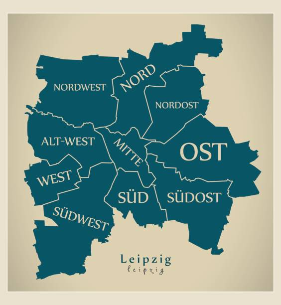 bildbanksillustrationer, clip art samt tecknat material och ikoner med modern city karta - leipzig i tyskland med boroughs och titlar de - germany map leipzig