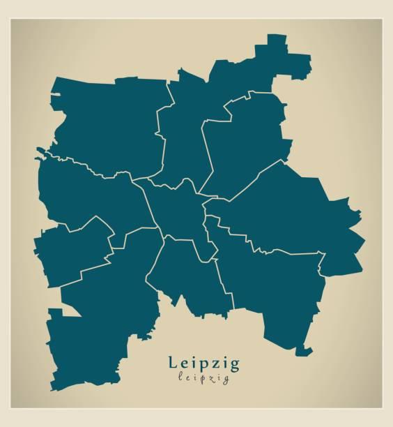 bildbanksillustrationer, clip art samt tecknat material och ikoner med modern city karta - leipzig i tyskland med stadsdelar de - germany map leipzig