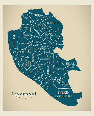 Modern City Map Liverpool City Of England With Wards And ...