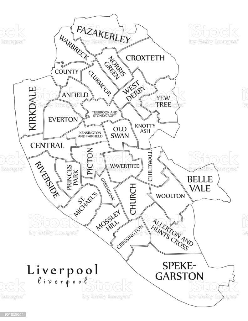 Moderne City Map Liverpool Stadt Englands Mit Gemeinden Und Titel Uk ...