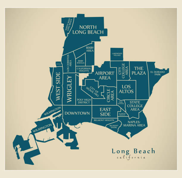 Modern City Map - Long Beach California city of the USA with neighborhoods and titles Modern City Map - Long Beach California city of the USA with neighborhoods and titles long beach california stock illustrations