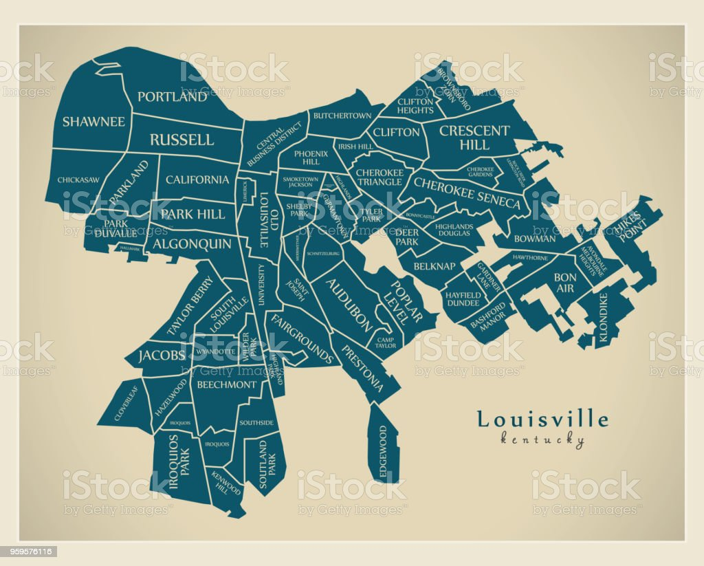 Moderne City Map Louisville Kentucky Stadt Der Usa Mit ...