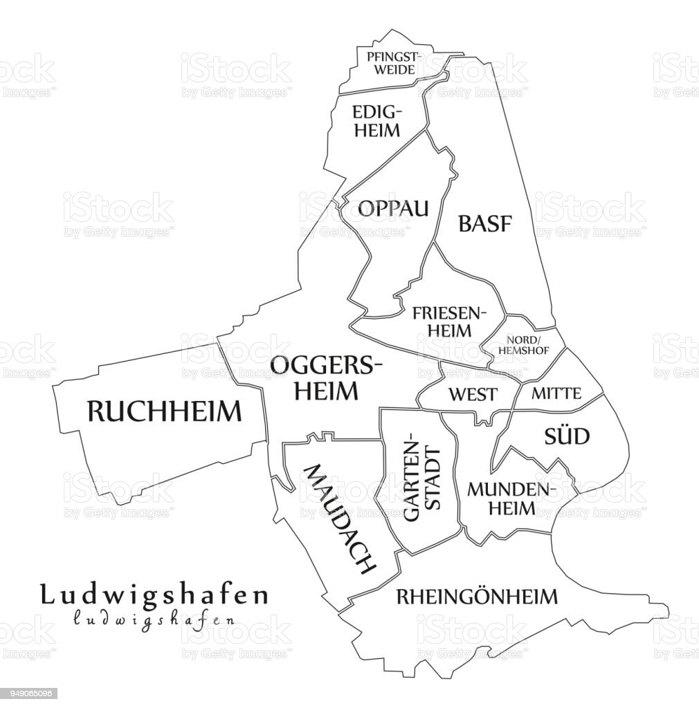 Outline Map Of Germany.Modern City Map Ludwigshafen City Of Germany With Boroughs And
