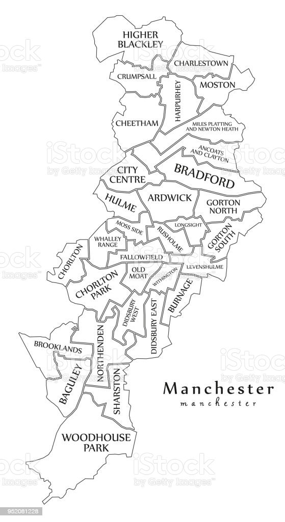 modern city map manchester city of england with wards and titles uk outline map royalty