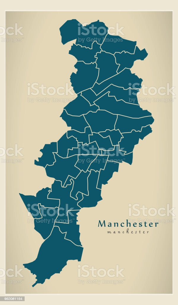 Manchester On World Map.Modern City Map Manchester City Of England With Wards Uk Stock