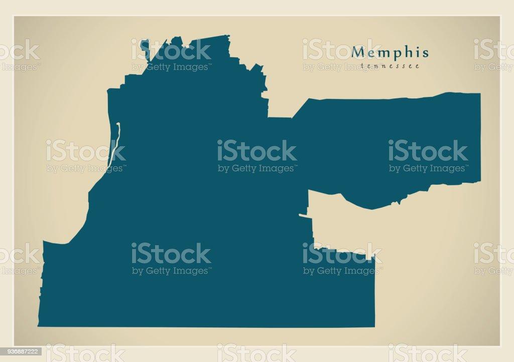 Moderne City Map Memphis Tennessee Stadt Der Usa Stock ...