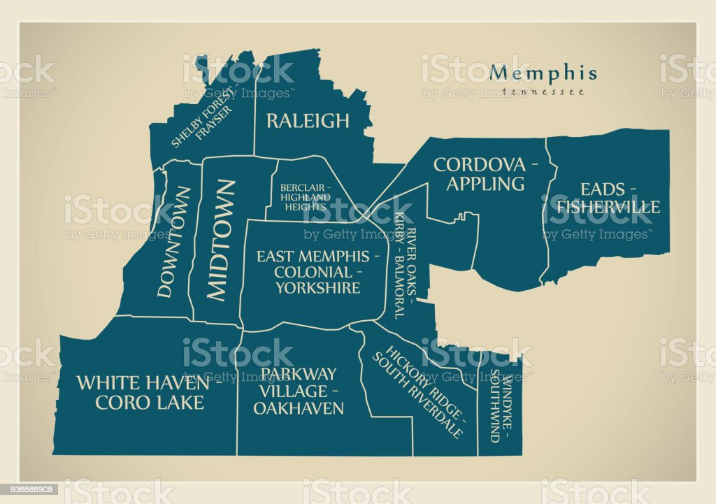 Moderne City Map Memphis Tennessee Stadt Der Usa Mit Nachbarschaften ...