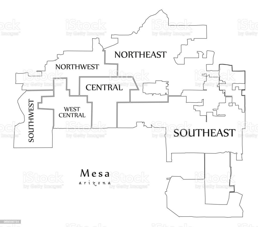 Moderne City Map Mesa Arizona Stadt Der Usa Mit Nachbarschaften Und ...