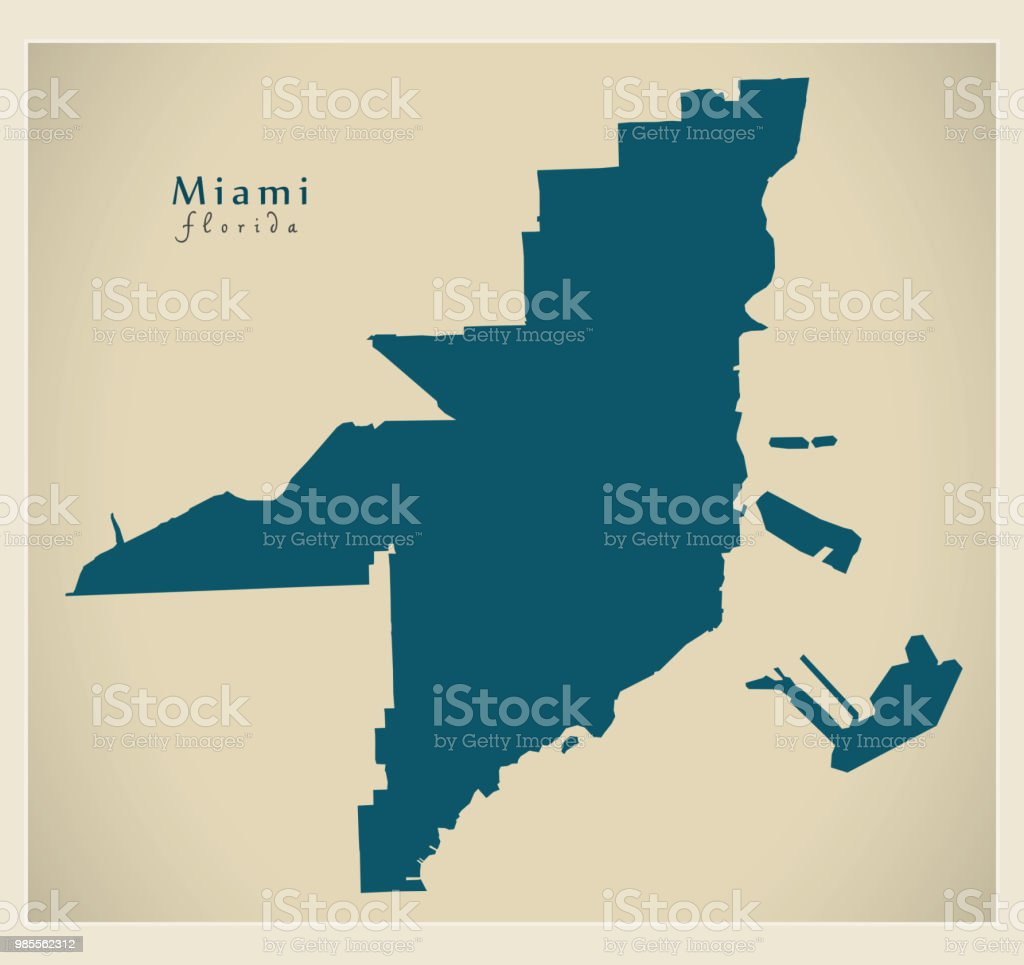 Modern City Map Miami Florida City Of The Usa Stock Vector Art - Us-map-miami