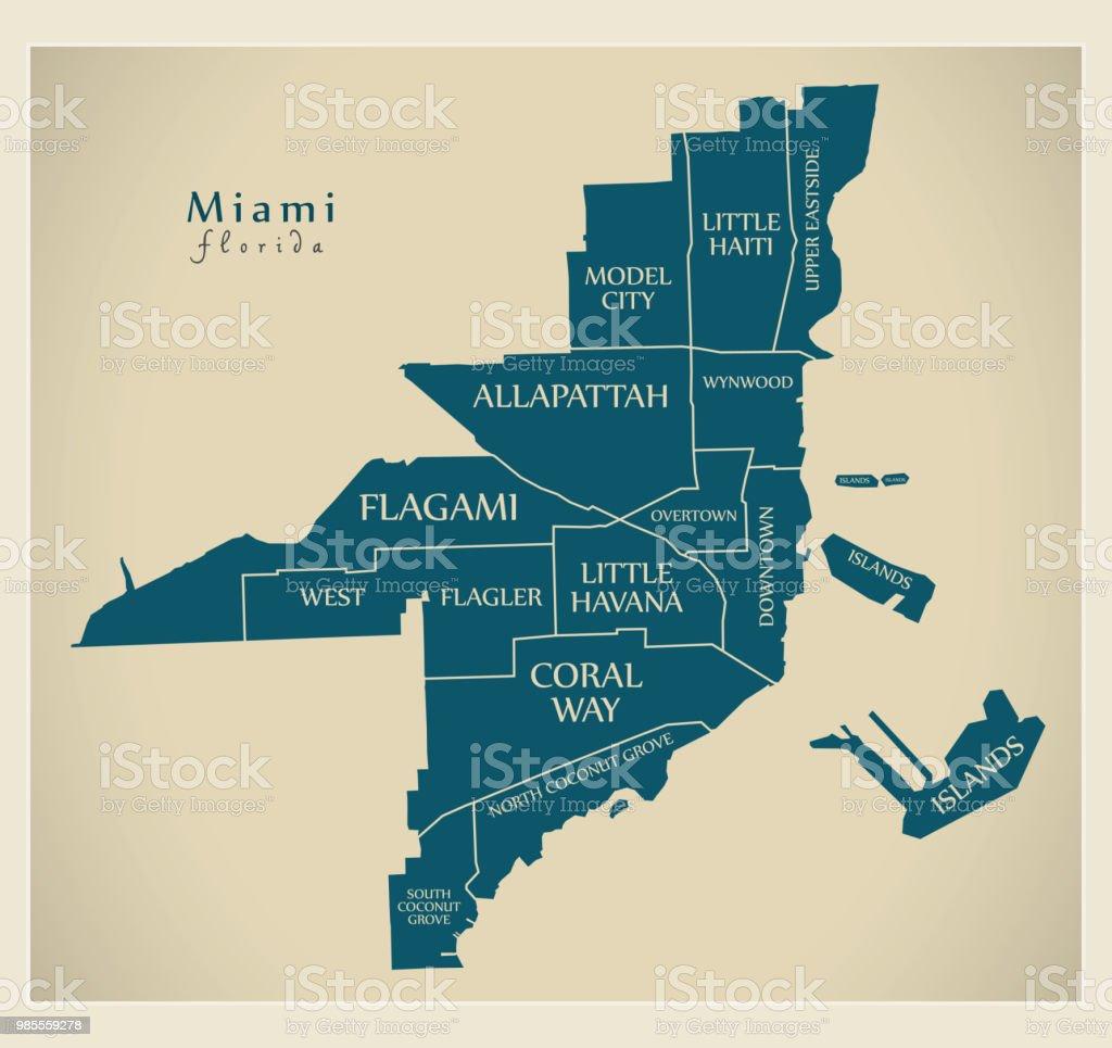 City Map Of Florida.Modern City Map Miami Florida City Of The Usa With Neighborhoods And