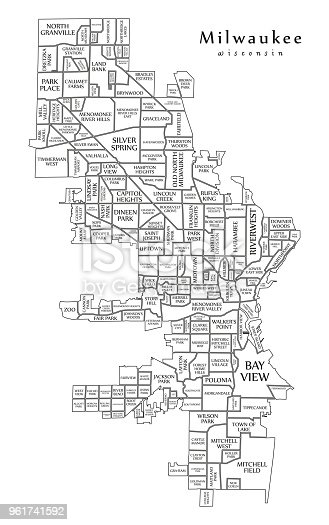 Modern City Map Milwaukee Wisconsin City Of The Usa With