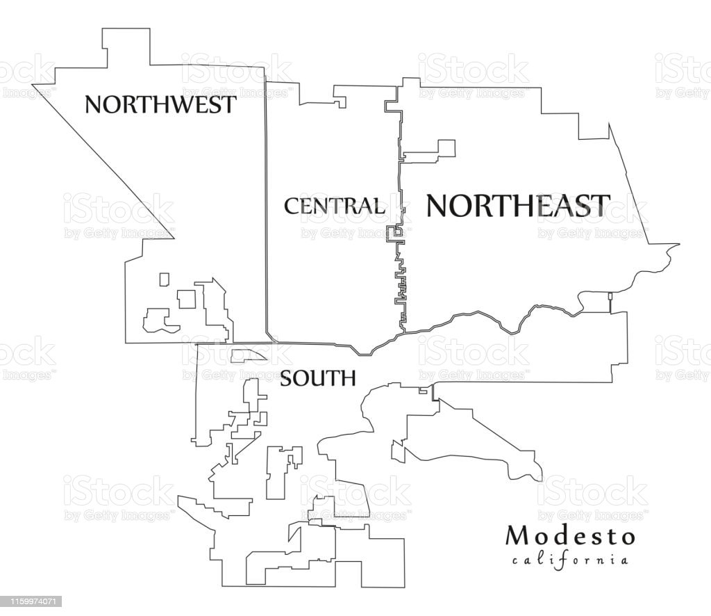 Modern City Map Modesto California City Of The Usa With