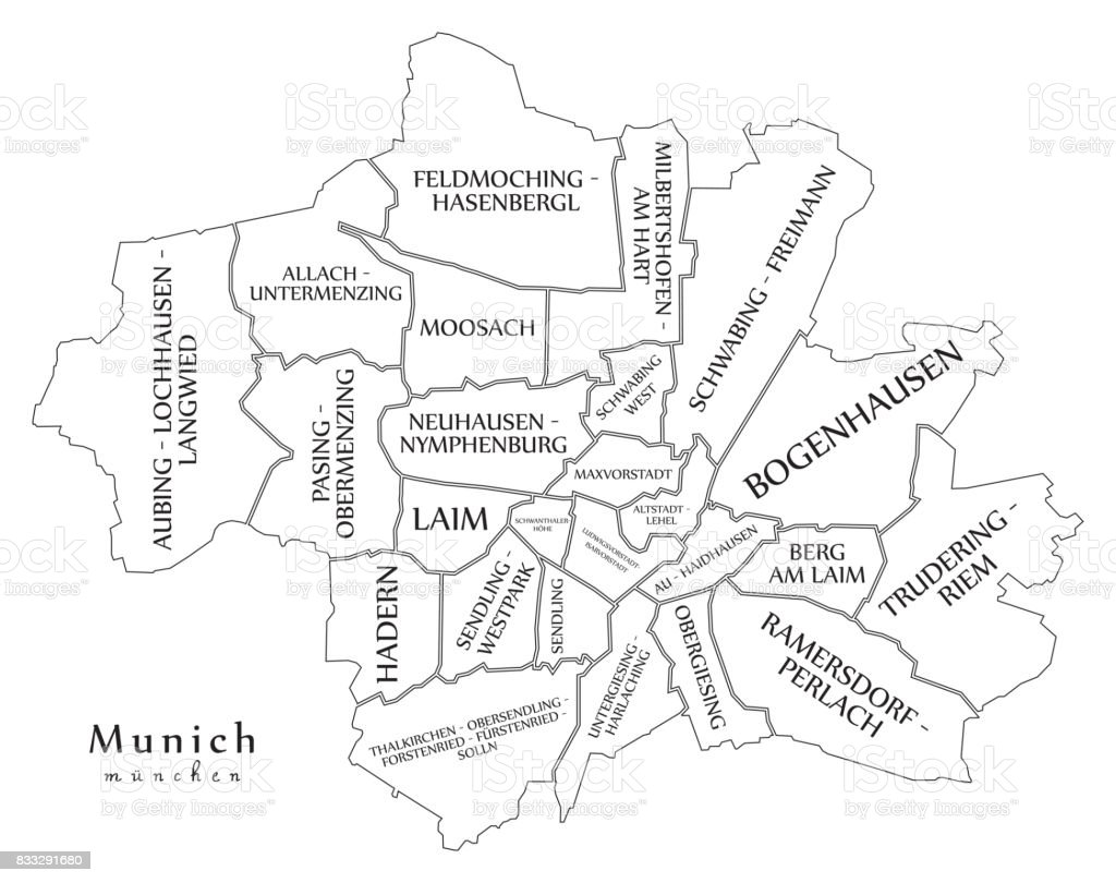 Modern City Map Munich City Of Germany With Boroughs And Titles De ...