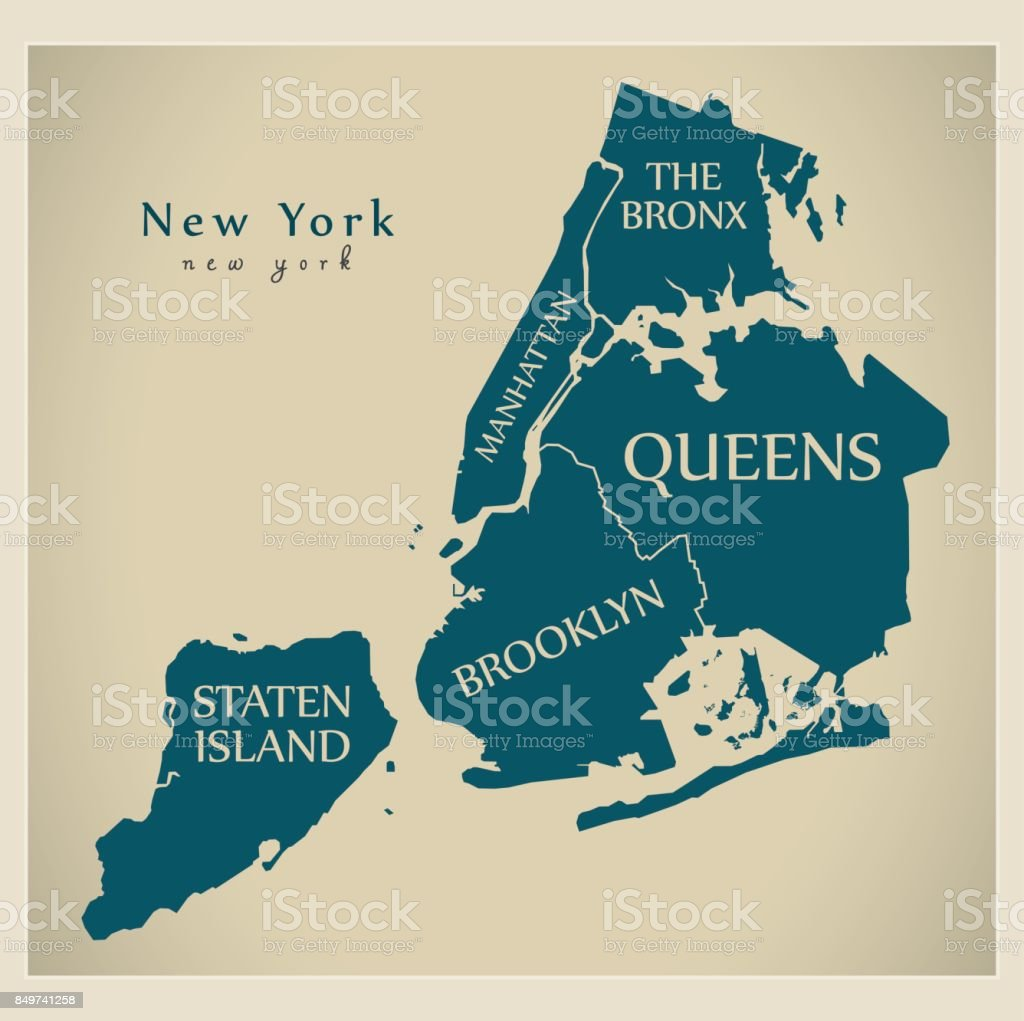 Modern City Map New York City Of The Usa With Boroughs And Titles