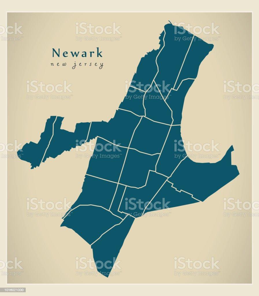 Moderne City Map Newark New Jersey Stadt Der Usa Mit Nachbarschaften ...