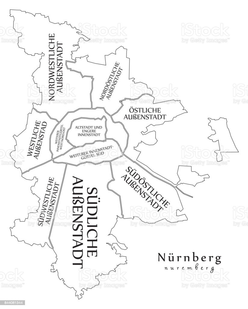 Map Of Germany Nuremberg.Modern City Map Nuremberg City Of Germany With Boroughs And Titles