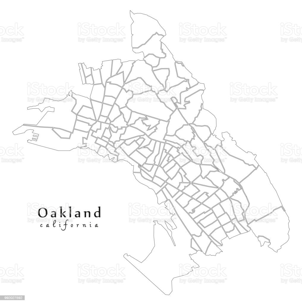 Modern City Map Oakland California City Of The Usa With 131 ... on