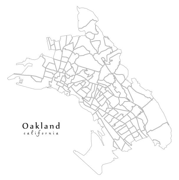 Modern City Map - Oakland California city of the USA with 131 neighborhoods outline map Modern City Map - Oakland California city of the USA with 131 neighborhoods outline map oakland stock illustrations