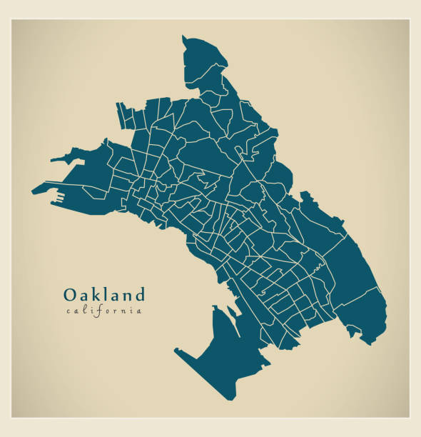 Modern City Map - Oakland California city of the USA with 131 neighborhoods Modern City Map - Oakland California city of the USA with 131 neighborhoods oakland stock illustrations