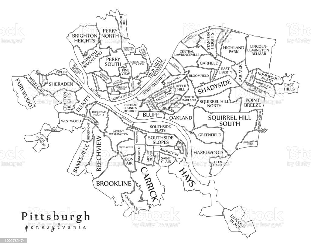 Pittsburgh On Map Of Usa.Modern City Map Pittsburgh Pennsylvania City Of The Usa With