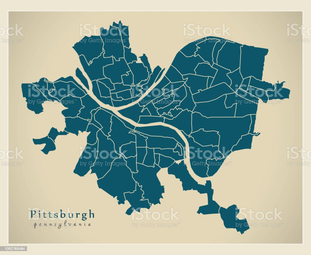 Modern City Map Pittsburgh Pennsylvania City Of The Usa With ...