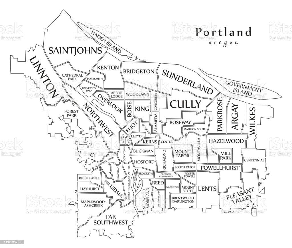 Moderne City Map Portland Oregon Stadt Der Usa Mit ...