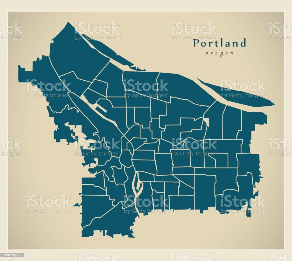 Modern City Map Portland Oregon City Of The Usa With Neighborhoods ...