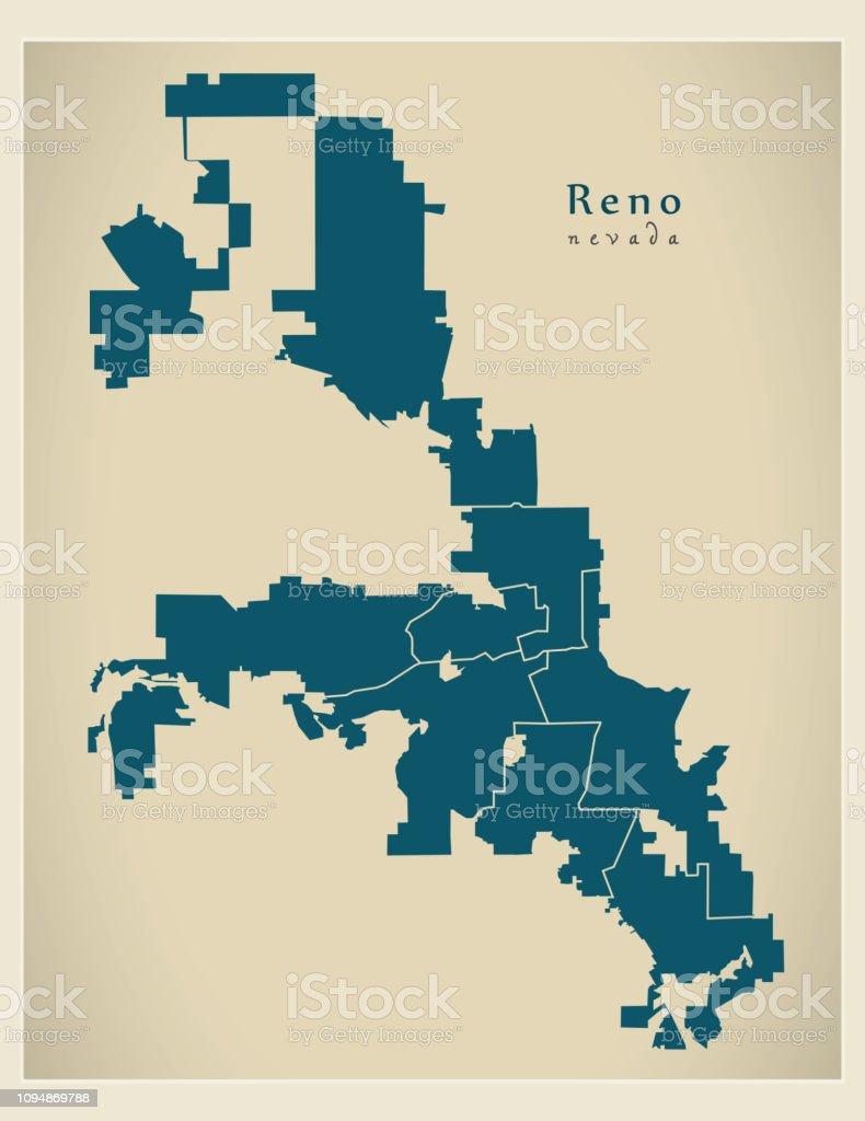 Ilustracion De Mapa De La Ciudad Moderna Ciudad De Reno Nevada De La Usa Con Barrios Y Mas Vectores Libres De Derechos De Abstracto Istock