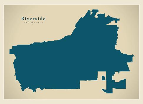 Modern City Map Riverside California City Of The Usa Stock