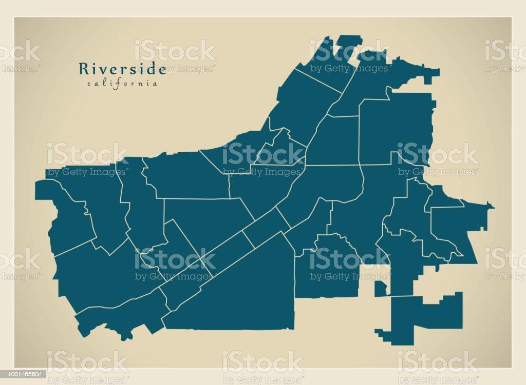 Moderne City Map Riverside Kalifornien Stadt Der Usa Mit ...