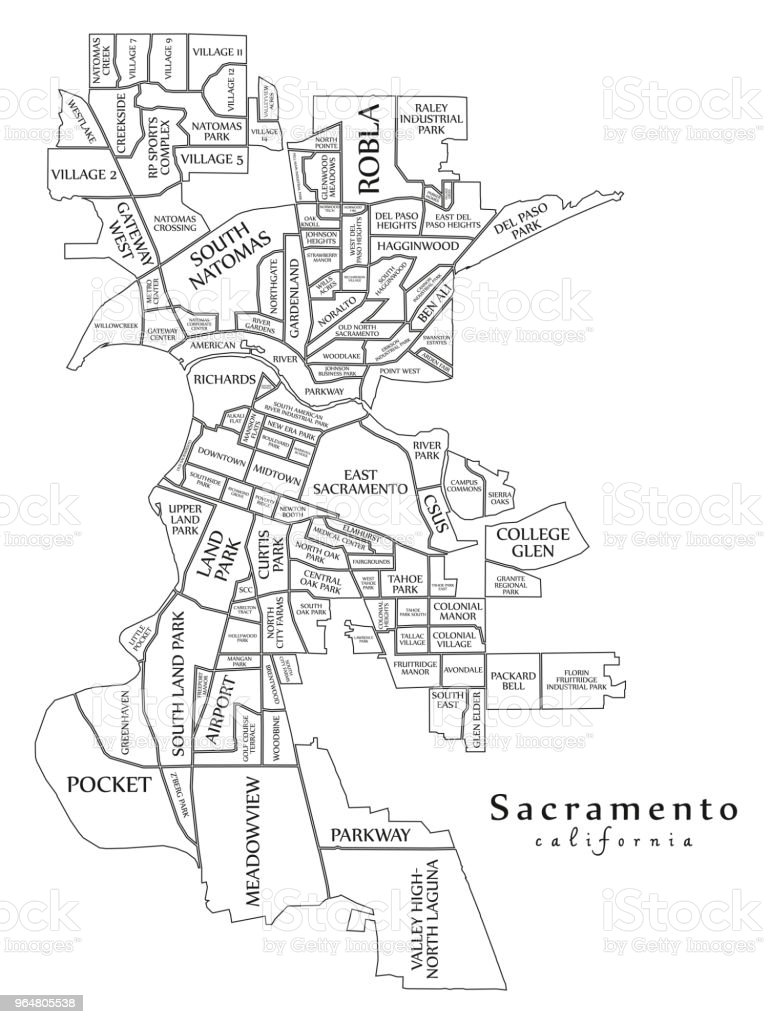 Modern City Map - Sacramento California city of the USA with neighborhoods and titles outline map royalty-free modern city map sacramento california city of the usa with neighborhoods and titles outline map stock vector art & more images of abstract