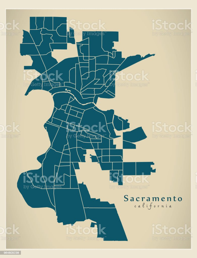 Modern City Map - Sacramento California city of the USA with neighborhoods royalty-free modern city map sacramento california city of the usa with neighborhoods stock vector art & more images of abstract