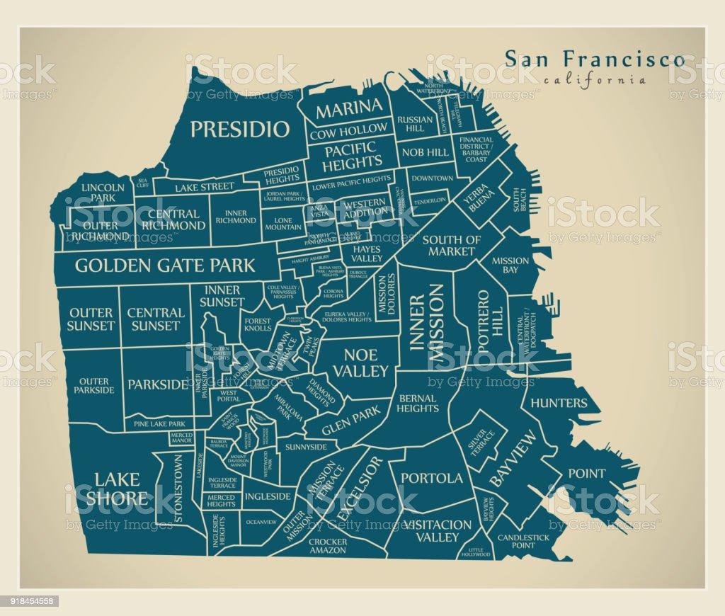 Moderne City Map San Francisco Stadt Der Usa Mit Nachbarschaften Und ...