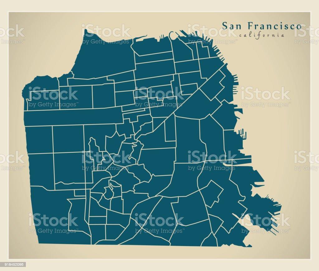 Moderne City Map San Francisco Stadt Der Usa Mit ...