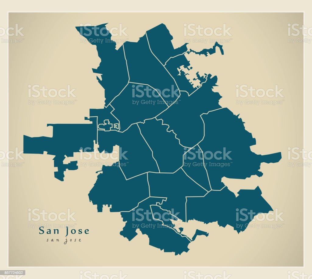 Modern City Map San Jose City Of The Usa With Neighborhoods stock