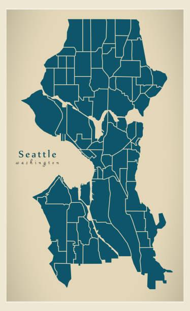 ilustraciones, imágenes clip art, dibujos animados e iconos de stock de mapa de la ciudad moderna - ciudad de seattle washington de los e.e.u.u. con barrios - seattle
