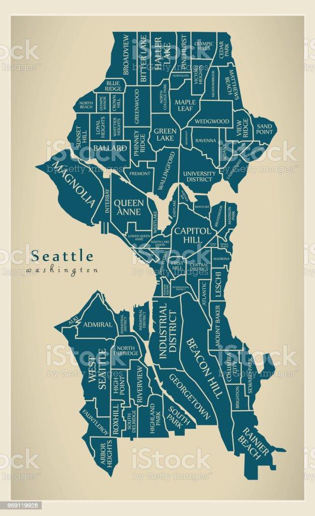 Moderne City Map Seattle Washington Stadt Der Usa Mit ...
