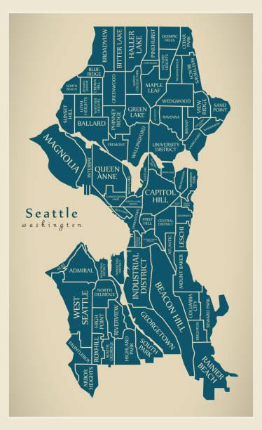 ilustraciones, imágenes clip art, dibujos animados e iconos de stock de mapa de la ciudad moderna - ciudad de seattle washington de los e.e.u.u. con barrios y títulos - seattle