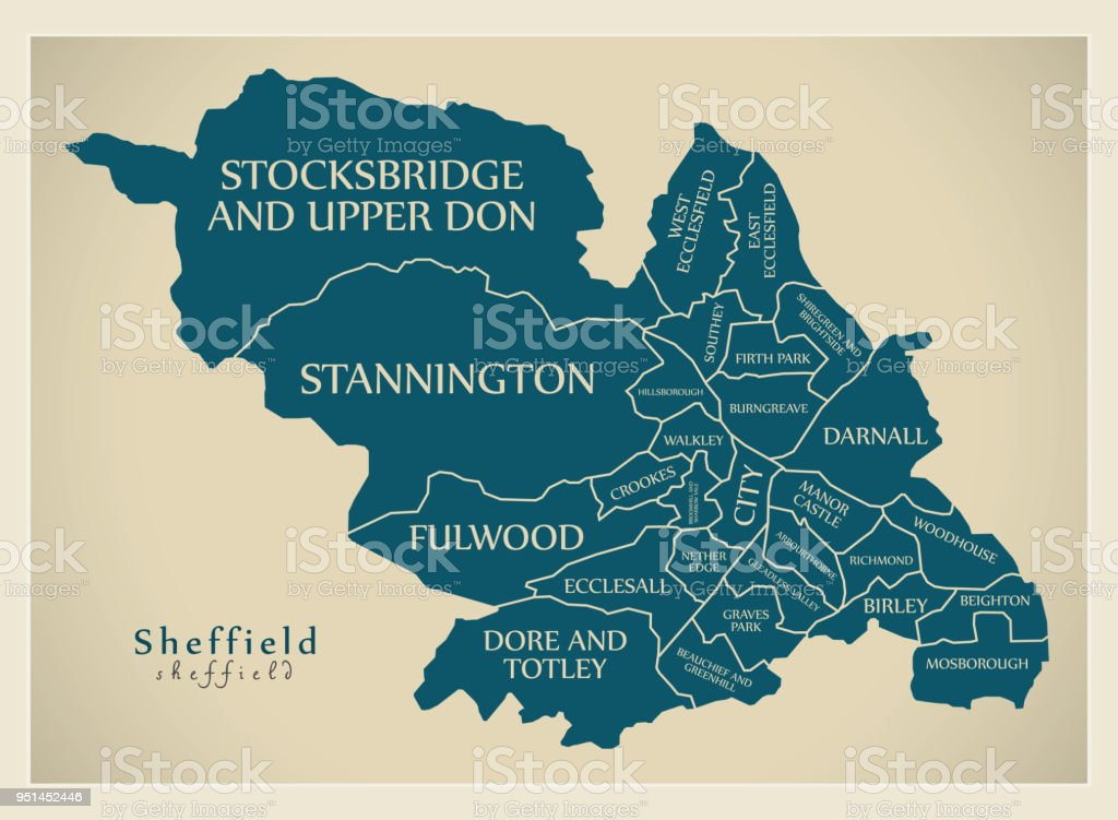 Modern city map sheffield city of england with wards and titles uk modern city map sheffield city of england with wards and titles uk royalty free gumiabroncs Choice Image