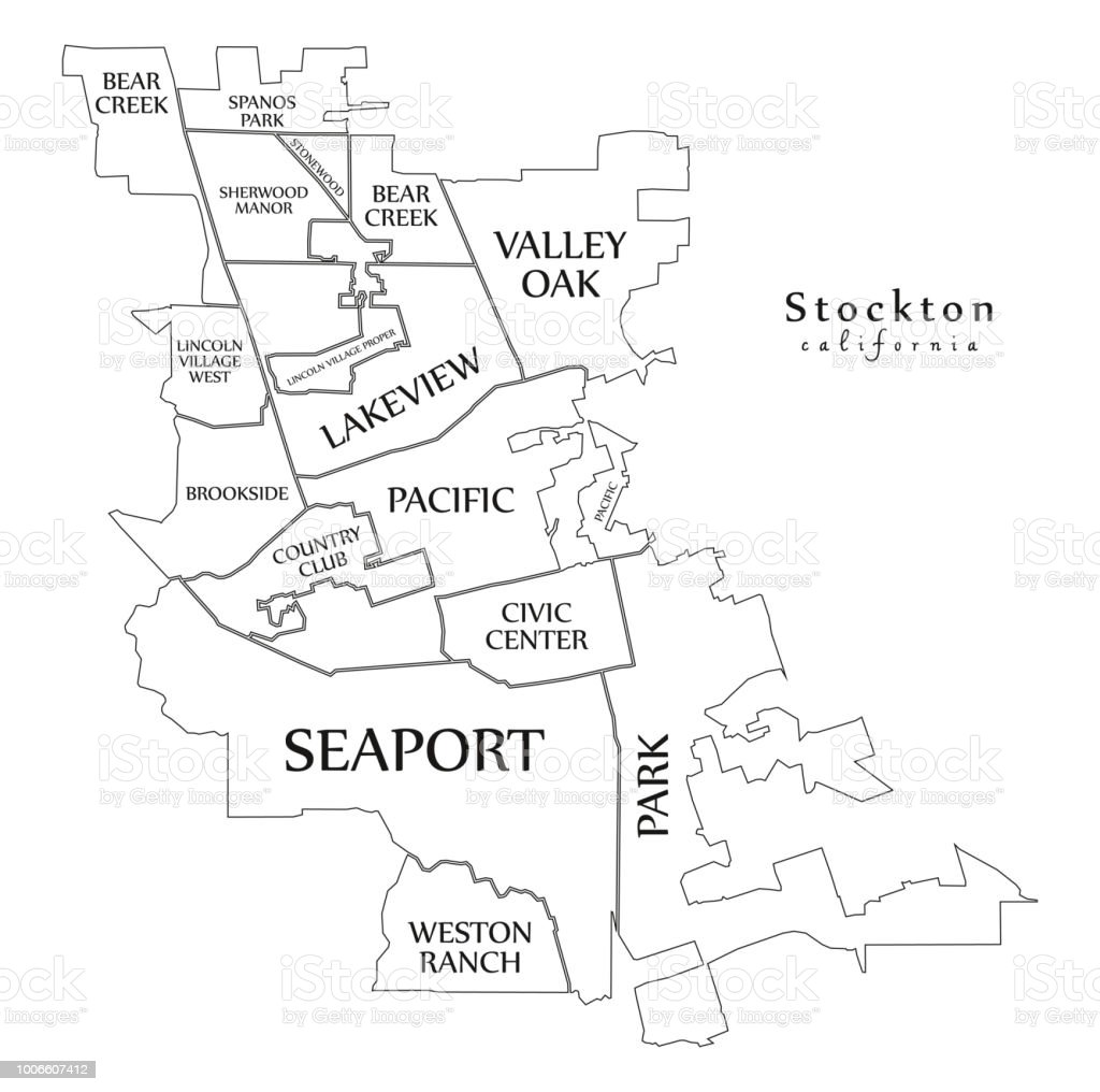 Modern City Map Stockton California City Of The Usa With ... on lancaster map outline, chico map outline, inglewood map outline, fullerton map outline, san francisco map outline, washington and oregon map outline, usa map outline, inyo county map outline, avalon map outline,
