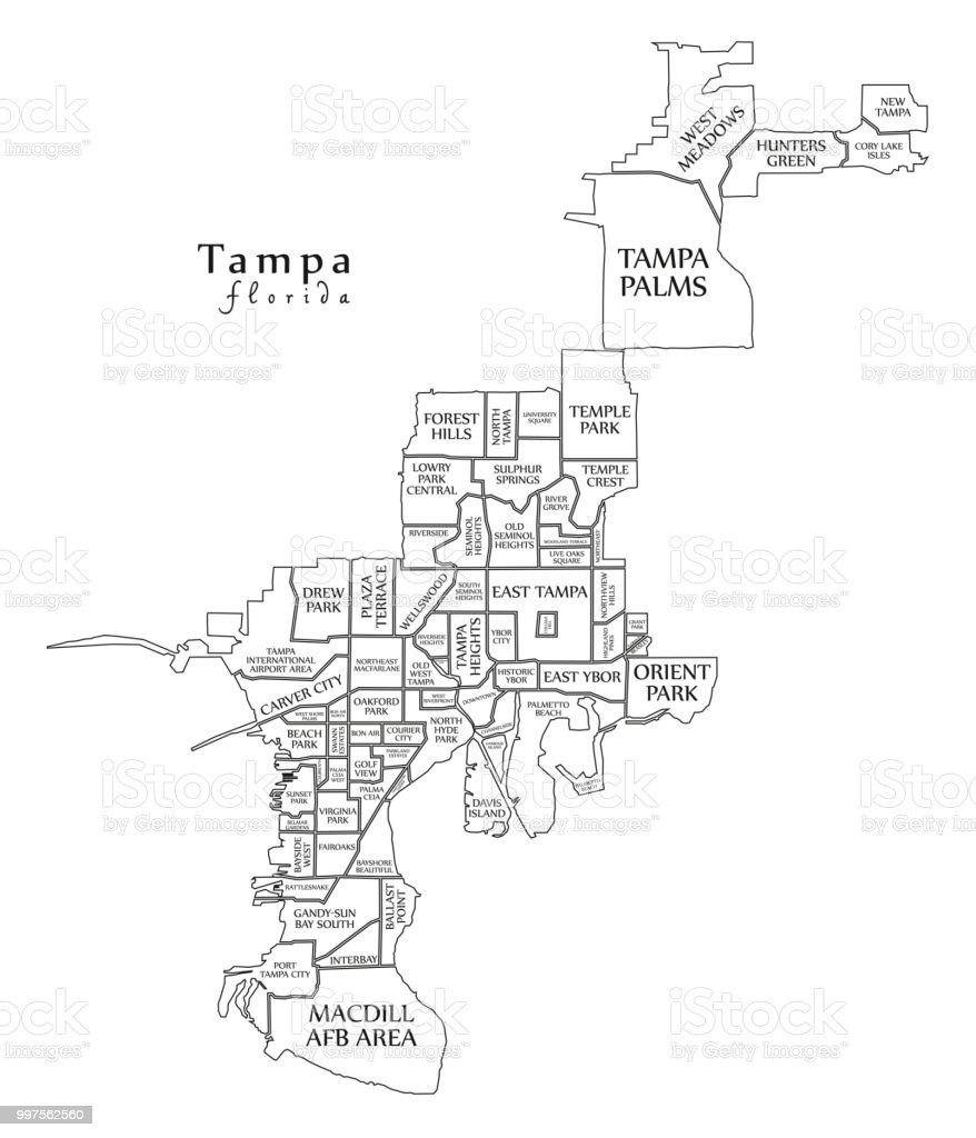 Tampa Florida Map State.Modern City Map Tampa Florida City Of The Usa With Neighborhoods And