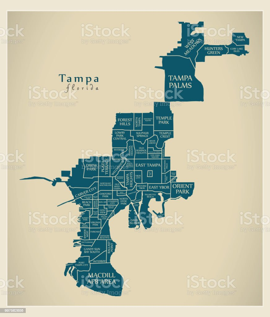 Moderne City Map Tampa Florida Stadt Der Usa Mit ...