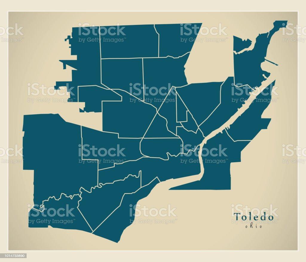 Modern City Map Toledo Ohio City Of The Usa With Neighborhoods Stock