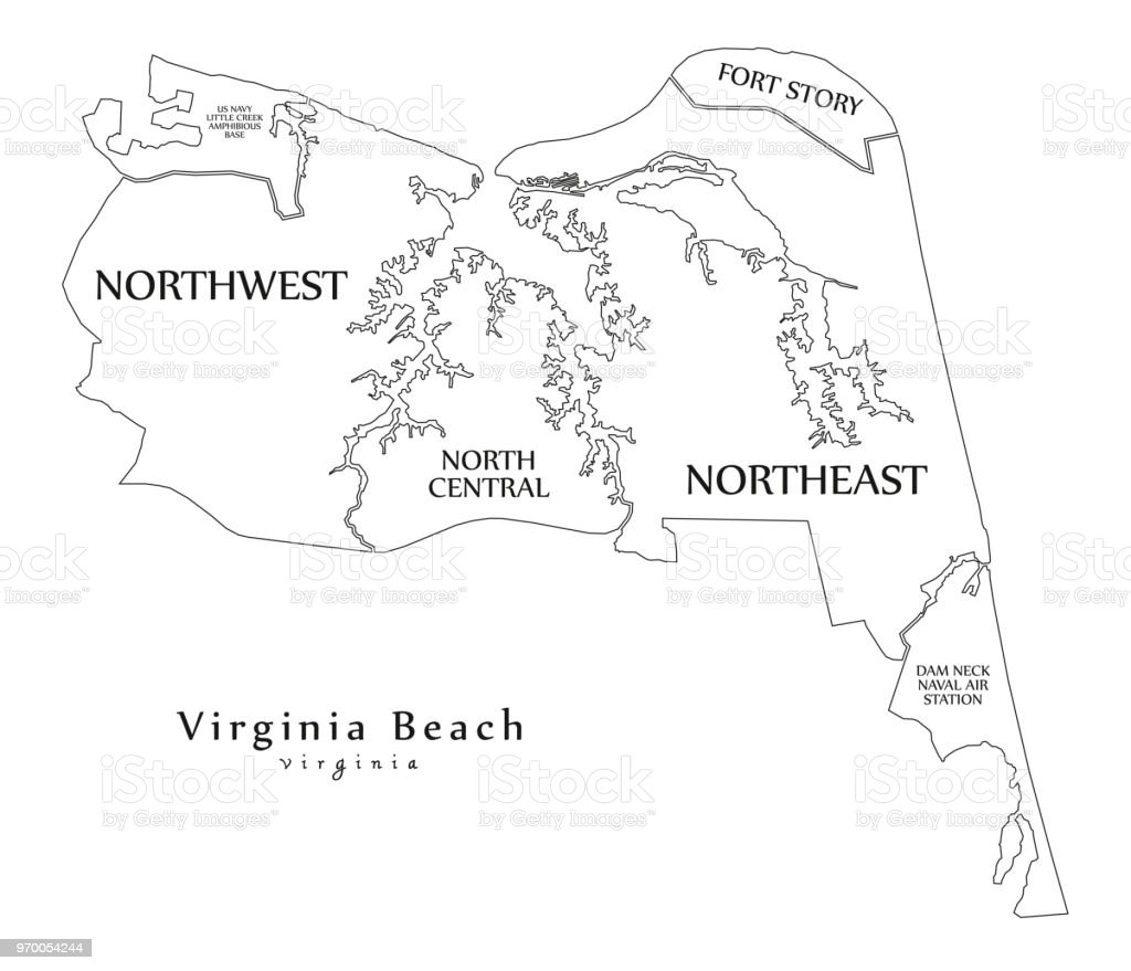 Modern City Map Virginia Beach Va City Of The Usa With Neighborhoods ...
