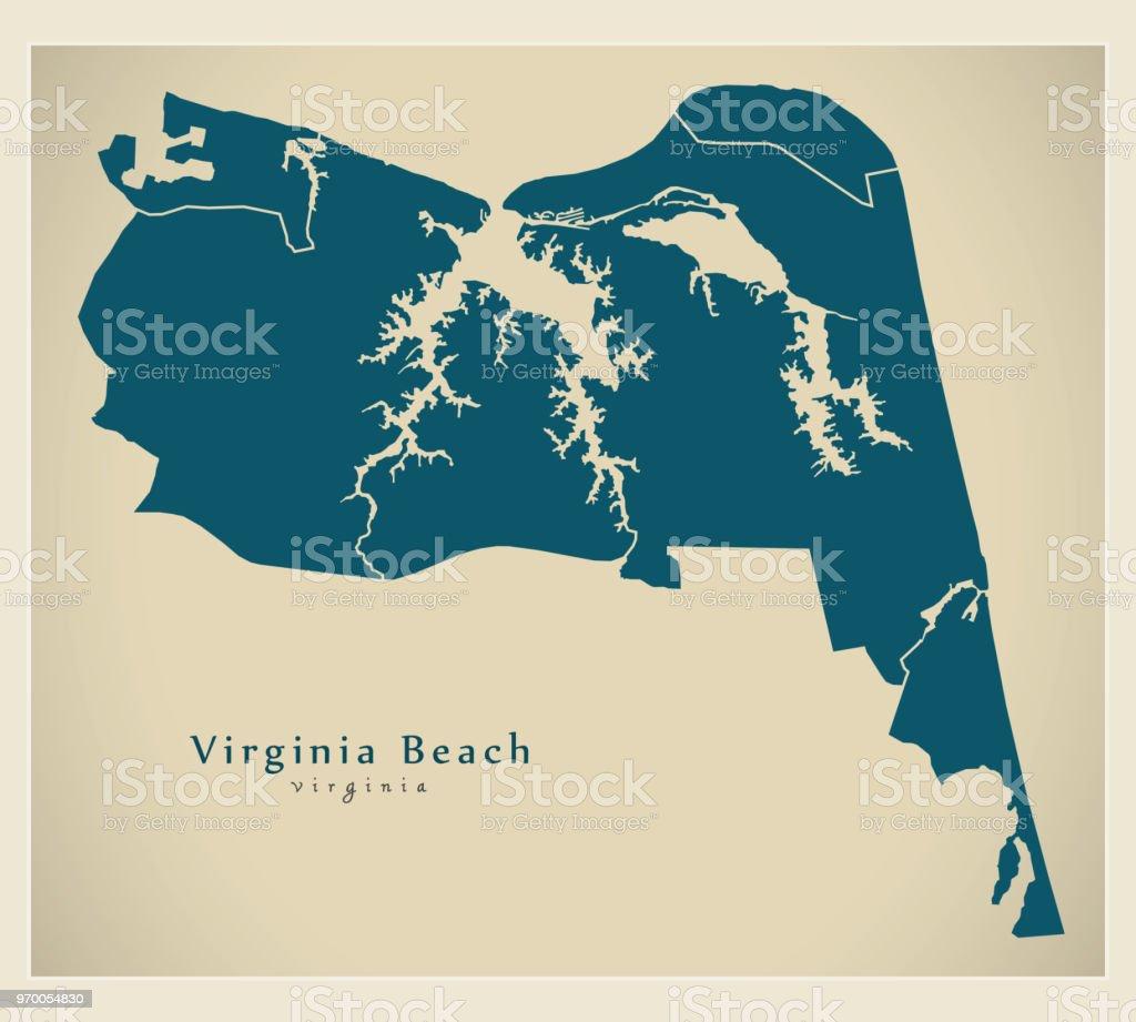 Modern City Map Virginia Beach Va City Of The Usa With