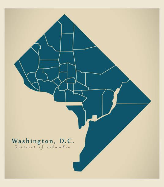 Modern City Map - Washington DC city of the USA with neighborhoods Modern City Map - Washington DC city of the USA with neighborhoods washington dc stock illustrations
