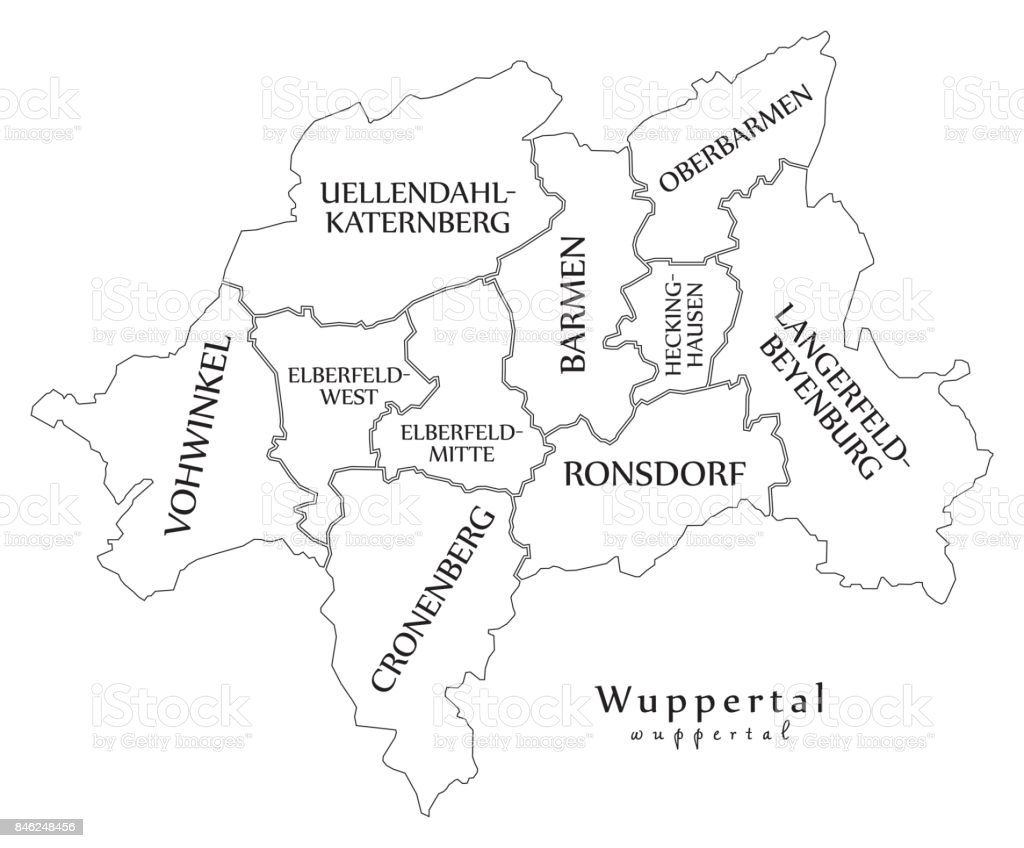 Modern City Map Wuppertal City Of Germany With Boroughs And Titles