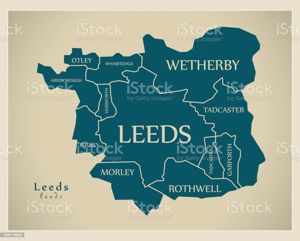 Modern City Maps Leeds With Labelled Boroughs England Illustration