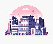 istock Modern City Metropolis Flat Illustration 1048684328